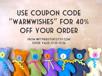 Sale at Nifty Kidstuff! Use code WARMWISHES for 40% off!